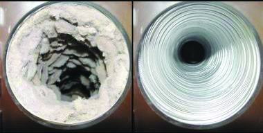 Dryer vent cleaning Phoenix, before and after photo.