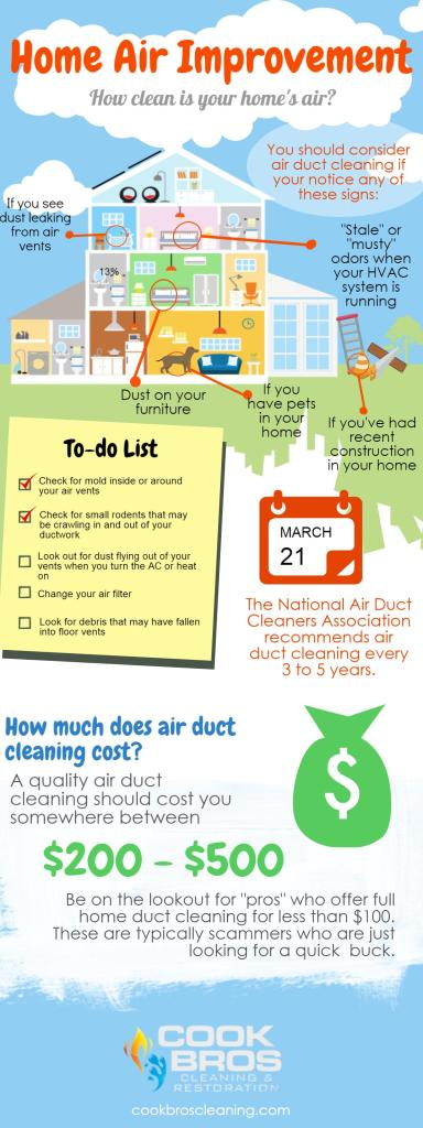 Infographic explaining what to look for when deciding if your home needs air duct cleaning.